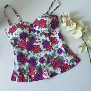 Guess Floral Corset/Bustier Ruffle Top